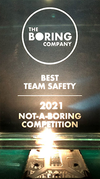 A photo of the Best Team Safety award won by UMD at the Not-So-Boring Competition