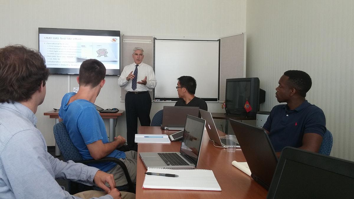 Matt Scassero providing Test Site update to interns